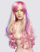 Namecute Ombre Pink Wigs Long Curly Wig Full Synthetic Fibre