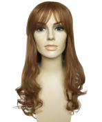 Namecute Full Capless Brown Wig Long Curly Wigs Synthetic Fibre with Bangs