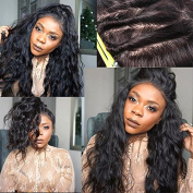 Fushen Hair Natural Wave Full Lace Human Hair Wigs with Baby Hair Virgin Brazilian Wavy Full Lace Wigs for Black Women 60cm with 150% Density Natural Hair Colour