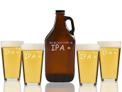 My Blood Type Is IPA Plus Beer Amber Growler and Pint Glasses