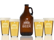 I Love You More Than You Love Beer Beer Amber Growler and Pint Glasses