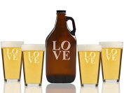 Modern Love Beer Amber Growler and Pint Glasses