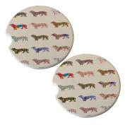 Daschund Dog Pattern - Sandstone Car Drink Coaster