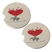 Elephant Red Ballons - Sandstone Car Drink Coaster