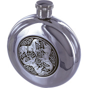 Maxam 150ml Round Stainless Steel Flask with Celtic Horse Medallion