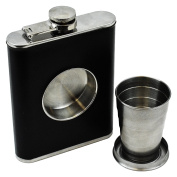 Fairly Odd Novelties FON-10229-240ml Hip Flask With Built In Collapsible Shot Glass, Black