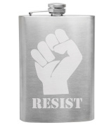 Resist Fist 240ml Stainless Steel Flask - Hand Etched - Made in the USA, Great for gifts