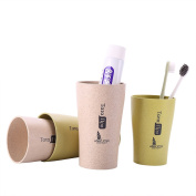UPSTYLE Wheat Straw Plastic Biodegradable Drink Cups Mugs Home Use Tata Bottle for Coffee, Water, Tea Couple Brushing Toothbrush Cups, Pack of 4, 320ml/430ml, WS0510