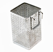 Kitchen Utensil Chopsticks Perforated Holder with Hooks - Stainless Steel - Dishwasher Safe - Small Square Caddy 6.4cm X 9.9cm X 6.4cm