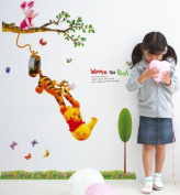 ZuoLan PVC Stickers Winnie The Pooh Removable Wall Stickers Wall Decal DIY Decorative Room Nursery