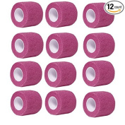 Self-adherent Cohesive Stretch Athletic Tape Wrap Bandage (Pack of 12) 5.1cm By 6 Yards By Aguaton