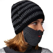 SUPOW Knitted Hat, Unisex Balaclava Windproof Hat Sports Ski Face Mask Winter Warm Beanies Hat Wind Guard Cap with Funny Beard Shaped Mouth-muffle