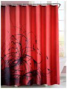 LanMeng Fabric Shower Curtain, Abstract Plant / Floral, Red Black