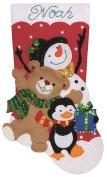 Holiday Friends Stocking Felt Applique Kit-18 Long