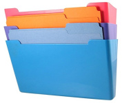 US-Works Wall File Pocket, Assorted Colours, (Pink, Purple, Blue), Letter Size, Pack of 3