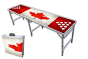 2.4m Professional Beer Pong Table w/ OPTIONAL Cup Holes & LED Glow Lights - Oh Canada Graphic