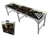 2.4m Professional Beer Pong Table w/ OPTIONAL Cup Holes & LED Glow Lights - Zombie Graphic