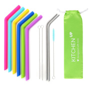 Silicone Straws for 890ml Tumbler Yeti / Rtic Complete Bundle - Reusable Silicone Straws Set of 6 - Stainless Steel Straws Extra Long - Brushes and Storage Pouch Included
