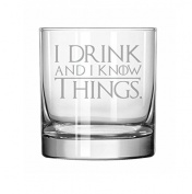 330ml Rocks Whiskey Highball Glass Funny I Drink And I Know Things
