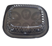 Plastic Disposable Deviled Egg Trays with Lids Black/Clear - Set of 12 Trays and 12 Lids