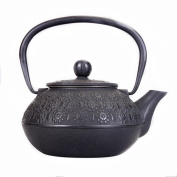 Japanese Cast Iron Pot Cherry Pattern Hand Uncoated Oxide Film Boiled Water Tea 0.9L