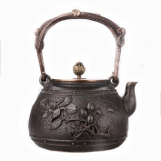 Japanese Cast Iron Pots Rich Flower Pattern Handmade Uncoated Copper Cover Boiled Water Tea 1.2L