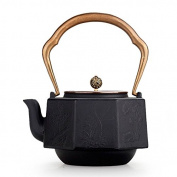Japan Cast Iron Kettle Octahedral Copper Coating Oxide Film Wall Without Coating Boiled Water Tea 1.4L