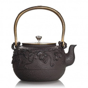 Japanese Cast Iron Pot Small Turtle Pure Handless Uncoated Copper Cover Boiled Water Tea 1.1L