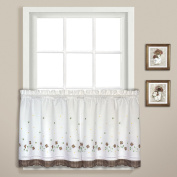 United Curtain Gingham Embroidered Kitchen Tiers, 150cm by 60cm , Taupe, Set of 2