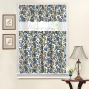 Traditions by Waverly Navarra Floral Tier and Valance Set Porcelain