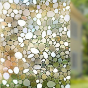 Rabbitgoo Static Cling Window Film Stained Non-Adhesive Privacy Glass Decorative Window Pebble Pattern 44.5CM x 200CM