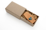 Tigerwood 16GB USB 2.0 Flash Drive - Wildwood Body - Inlaid Mother of Pearl Love Heart Design - With Handmade Paperbox - Filled with Raffia Grass