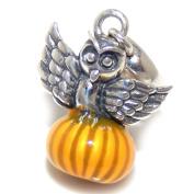 "Solid 925 Sterling Silver ""Owl Sitting on Orange Pumpkin"" Charm Bead 207 for European Snake Chain Bracelets"