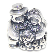 """Solid 925 Sterling Silver """"Bride and Groom"""" Charm Bead 254 for European Snake Chain Bracelets"""