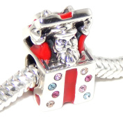 """Solid 925 Sterling Silver """"Santa Claus Inside of Present with Muti-coloured Crystals"""" Charm Bead 092 for European Snake Chain Bracelets"""