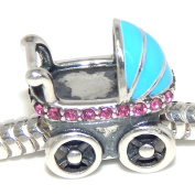 """Solid 925 Sterling Silver """"Baby Carriage with Pink Crystals and Blue Cover"""" Charm Bead 327 for European Snake Chain Bracelets"""