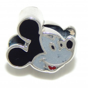 """Solid 925 Sterling Silver """"Two Sided Mickey Mouse Face"""" Charm Bead 264 for European Snake Chain Bracelets"""