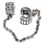 """Solid 925 Sterling Silver """"Bars"""" Safety Chain Clip Lock Charm Bead"""