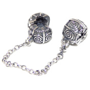 """Solid 925 Sterling Silver """"Swirl Design"""" Safety Chain Clip Lock Charm Bead"""