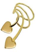 Ear Charm's Cute Double Heart Gold on Silver Left NON-Pierced Short Wave Ear Cuff Earring Wrap