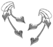 Ear Charm's 3 Puffy Hearts in Rhodium on Sterling NON-Pierced Pair of Long Wave Ear Cuff Earrings