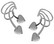 Ear Charm's Cute Double Heart Rhodium on Silver Pair NON-Pierced Wrap-on Short Wave Ear Cuff Earrings