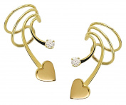 Ear Charm's Sweet Hearts with 2mm CZ , Gold on Silver Non-Pierced Pair Short Wave Ear Cuff Earrings