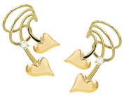 Ear Charm's Puff Heart n CZ Non-Pierced Pair of Short Wave Gold on Silver Wrap-on Ear Cuff Earrings
