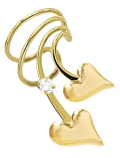 Ear Charm's Puff Heart and CZ Non-Pierced Right Short Wave Gold on Silver Wrap-on Ear Cuff Earrings