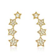 10K Gold Ear Crawler/ Climber Cuff Four Stars CZ Earrings