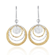 Two Tone Circle and Disc Earring 925 Sterling Silver & 14k Gold Filled Dangle Earrings