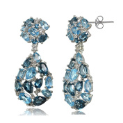 Sterling Silver London Blue, Swiss Blue and White Topaz Cluster Tonal Teardrop Dangle Earrings