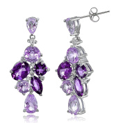 Sterling Silver African Amethyst and White Topaz Cluster Tonal Dangle Earrings