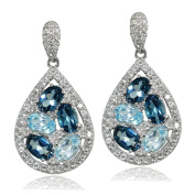 Sterling Silver London Blue, Blue and White Topaz Teardrop Cluster Tonal Dangle Earrings